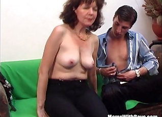 An awesome mature brunette loves young old cock in her pussy |