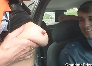 Slutty tungarian granny sucked cock and pounded hard |