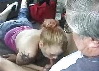Girl blows boyfriend in public  