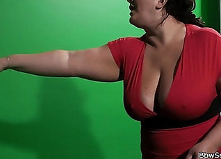 Busty BBW playing with her tits on Nylon |