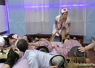 Blonde chick masturbates after gym orgy |