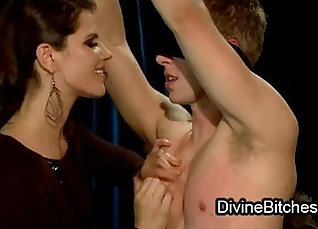 Cruel mistress loves tweaking her filthy hottie with hot toys |