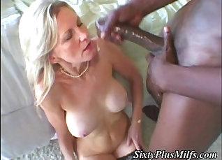 Black dude pleased worshiping white girls wet granny pussy  