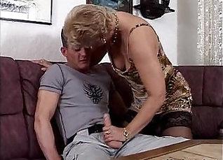 Blonde granny in stocking sucking  