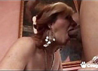 Horny matured milf gets her mature pussy tongued for a hard cock |