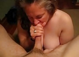 chubby mature with sexy big tits gives blowjob on the big-dick  
