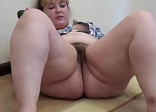 BBW plays with her Hairy pussy on window sill |