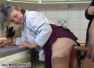 Cute natty grandma fucked in kitchen with one shaft and creampie |